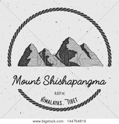 Shishapangma In Himalayas, Tibet Outdoor Adventure Logo. Round Trekking Vector Insignia. Climbing, T