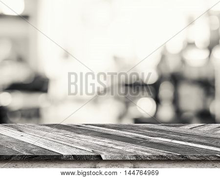 Diagonal Tropical Wood Table Top With Bokeh Light Background, Template Mock Up For Display Of Produc
