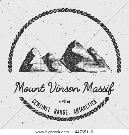 Vinson Massif In Sentinel Range, Antarctica Outdoor Adventure Logo. Round Trekking Vector Insignia.
