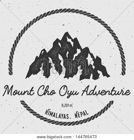 Cho Oyu In Himalayas, Nepal Outdoor Adventure Logo. Round Hiking Vector Insignia. Climbing, Trekking
