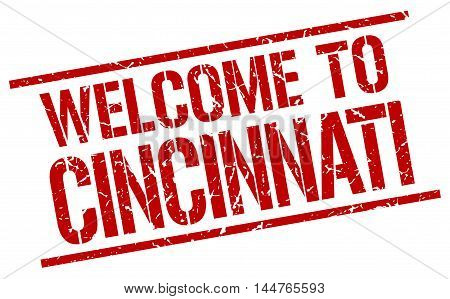welcome to Cincinnati. stamp. grunge square sign