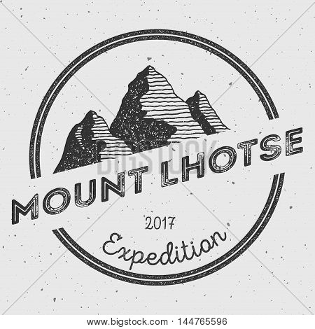 Lhotse In Himalayas, Nepal Outdoor Adventure Logo. Round Expedition Vector Insignia. Climbing, Trekk