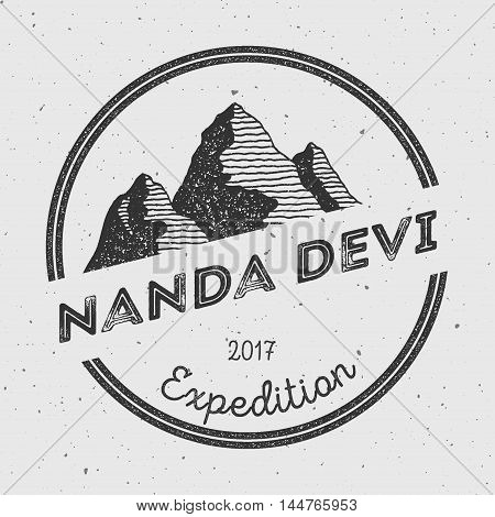 Nanda Devi In Himalayas, India Outdoor Adventure Logo. Round Expedition Vector Insignia. Climbing, T