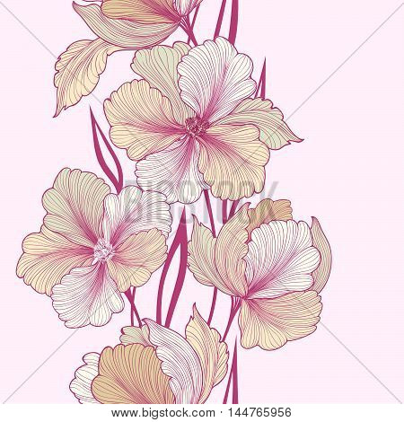 Floral background. Greeting card with flower. Flourish border. Gentle decor with summer flower dahlia. Gentle flourish vector illustration