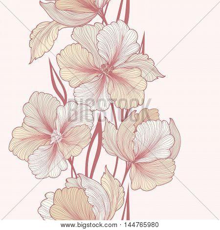 Floral background. Greeting card with flower. Flourish border. Gentle decor with summer flower dahlia. Gentle flourish illustration