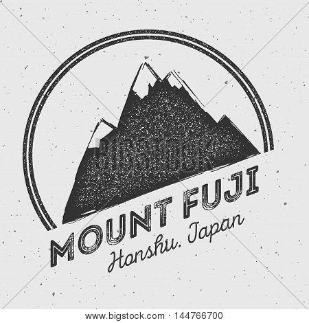 Fuji In Honshu, Japan Outdoor Adventure Logo. Round Mountain Vector Insignia. Climbing, Trekking, Hi