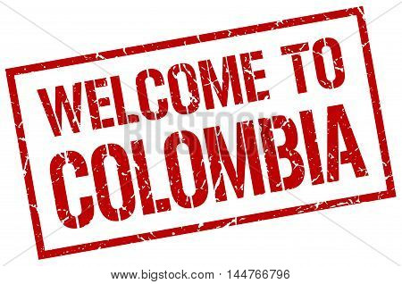 welcome to Colombia. stamp. grunge square sign