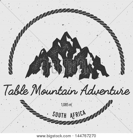 Table Mountain In , South Africa Outdoor Adventure Logo. Round Hiking Vector Insignia. Climbing, Tre