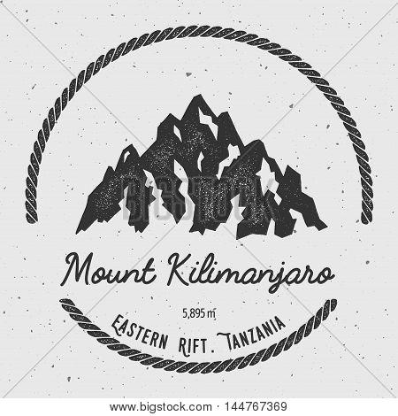 Kilimanjaro In Eastern Rift, Tanzania Outdoor Adventure Logo. Round Hiking Vector Insignia. Climbing