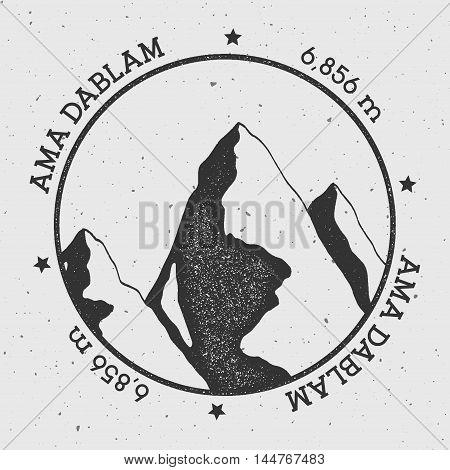 Ama Dablam In Himalayas, Nepal Outdoor Adventure Logo. Round Stamp Vector Insignia. Climbing, Trekki