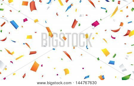 Colorful confetti falling on a white background