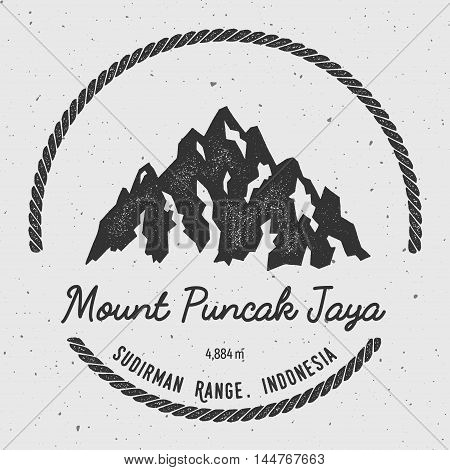 Puncak Jaya In Sudirman Range, Indonesia Outdoor Adventure Logo. Round Hiking Vector Insignia. Climb