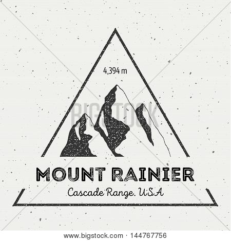 Rainier In Cascade Range, Usa Outdoor Adventure Logo. Triangular Mountain Vector Insignia. Climbing,