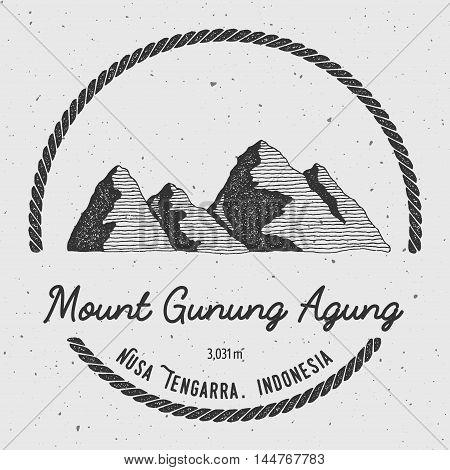 Gunung Agung In Nusa Tengarra, Indonesia Outdoor Adventure Logo. Round Trekking Vector Insignia. Cli