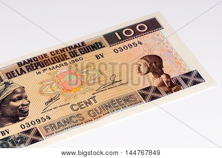 100 West African francs bank note of Guine Bissau. Frans is the national currency of Guine Bissau