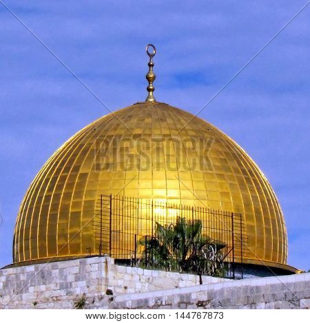 Dome of Rock Mosque during sunset in the old city of Jerusalem Israel