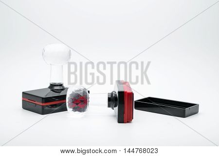 Rubber Stamps on White Background office supply