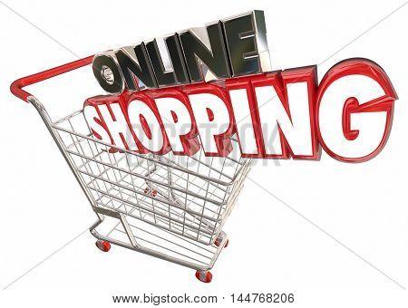 Online Shopping Cart Buy Products Internet Digital 3d Illustration