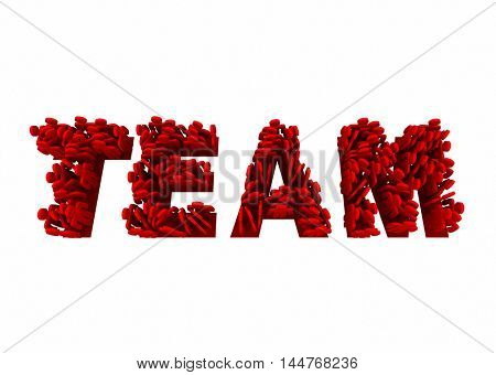 Team Members Working Together Teamwork Word 3d Illustration
