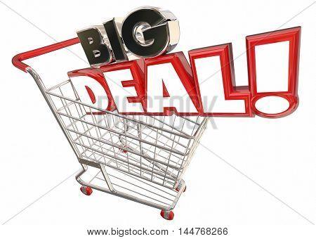 Big Deal Savings Sale Shopping Cart Words 3d Illustration