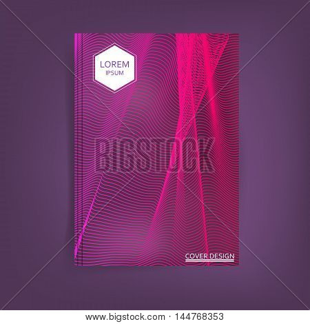 Abstract Card with Liquid Lines. Vector Cover design.
