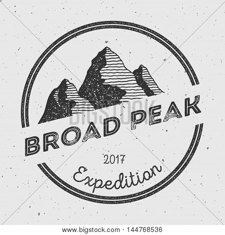 Broad Peak In Karakoram, Pakistan Outdoor Adventure Logo. Round Expedition Vector Insignia. Climbing