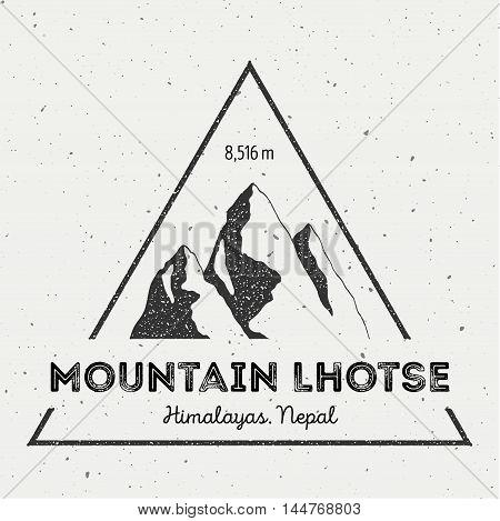 Lhotse In Himalayas, Nepal Outdoor Adventure Logo. Triangular Mountain Vector Insignia. Climbing, Tr