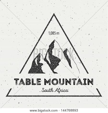 Table Mountain In , South Africa Outdoor Adventure Logo. Triangular Mountain Vector Insignia. Climbi