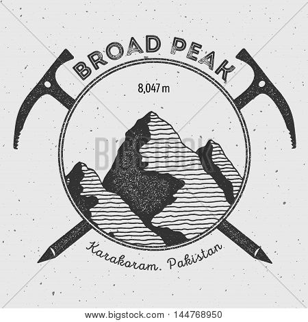 Broad Peak In Karakoram, Pakistan Outdoor Adventure Logo. Climbing Mountain Vector Insignia. Climbin