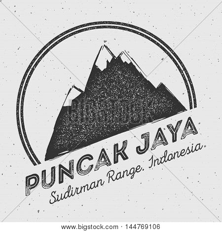Puncak Jaya In Sudirman Range, Indonesia Outdoor Adventure Logo. Round Mountain Vector Insignia. Cli