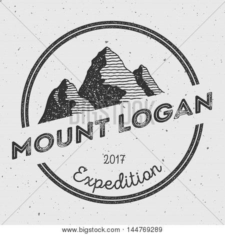 Logan In Saint Elias, Canada Outdoor Adventure Logo. Round Expedition Vector Insignia. Climbing, Tre