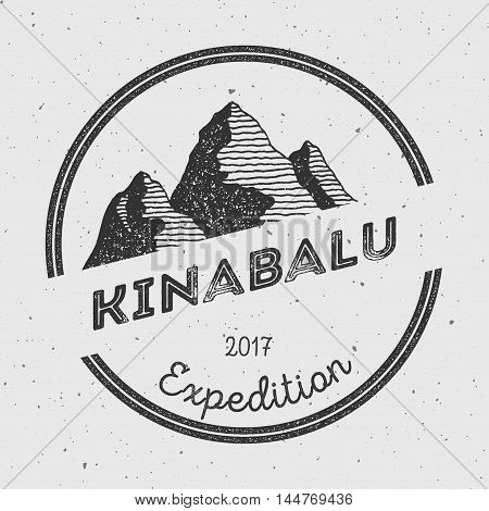 Kinabalu In Crocker Range, Malaysia Outdoor Adventure Logo. Round Expedition Vector Insignia. Climbi