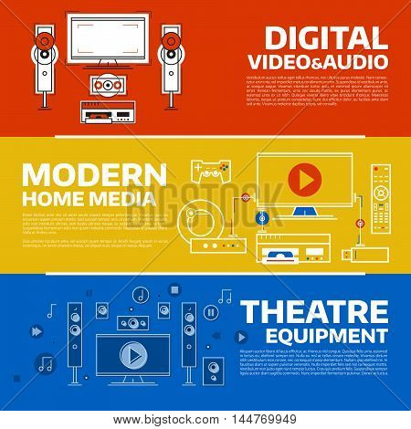 Vector banners collection with audio and video device. Business concept for web and print design. Technology illustrations set.