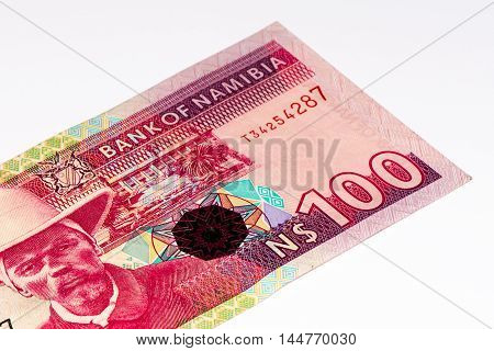 100 Namibian dollars bank note of Namibia. Namibian dollars is the national currency of Namibia