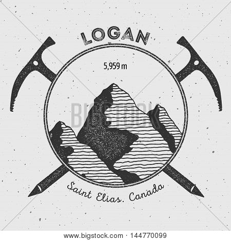 Logan In Saint Elias, Canada Outdoor Adventure Logo. Climbing Mountain Vector Insignia. Climbing, Tr