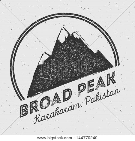 Broad Peak In Karakoram, Pakistan Outdoor Adventure Logo. Round Mountain Vector Insignia. Climbing,