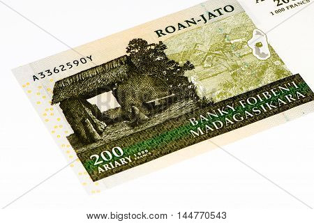200 Malagasy ariary bank note of Madagascar. Malagasy ariary is the national currency of Madagascar