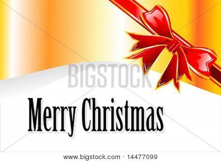 Vector Christmas decorated ribbon card