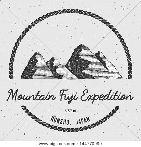 Fuji In Honshu, Japan Outdoor Adventure Logo. Round Trekking Vector Insignia. Climbing, Trekking, Hi