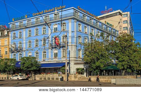 Basel, Switzerland - 27 August , 2016: Grand Hotel Euler building. Euler Hotel Basel is a newly refurbished 4-star hotel boasting first-class traditional hotel culture for over 140 years located right at the Basel train station.
