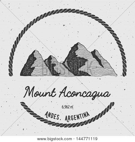 Aconcagua In Andes, Argentina Outdoor Adventure Logo. Round Trekking Vector Insignia. Climbing, Trek