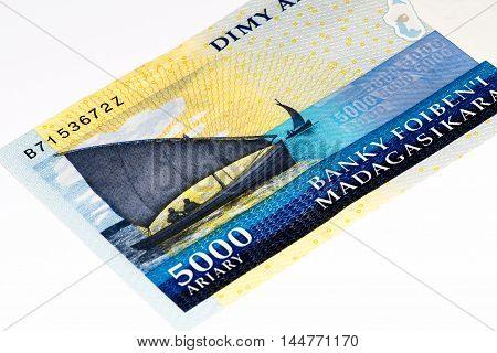 5000 Malagasy ariary bank note of Madagascar. Malagasy ariary is the national currency of Madagascar