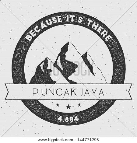 Puncak Jaya In Sudirman Range, Indonesia Outdoor Adventure Logo. Round Climbing Vector Insignia. Cli