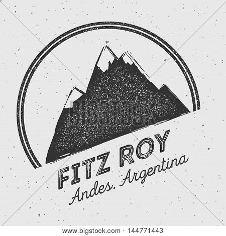 Fitz Roy In Andes, Chile Outdoor Adventure Logo. Round Mountain Vector Insignia. Climbing, Trekking,
