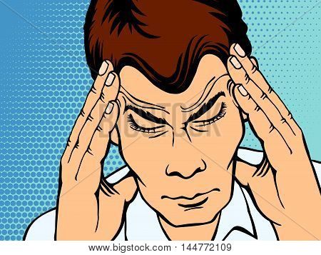 Man suffering with headache pop art style retro. Vector illustration