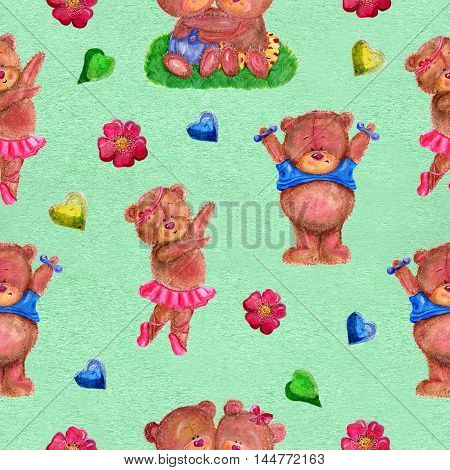Seamless hand drawn cartoon pattern with dancing bear wearing ballet tutu skirt and bear with dumb-bells on texture background. Watercolor repeated childish illustration.