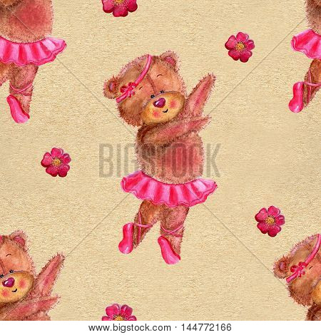 Seamless hand drawn cartoon pattern with cute dancing bear wearing pink ballet tutu skirt on texture background. Watercolor repeated childish illustration.
