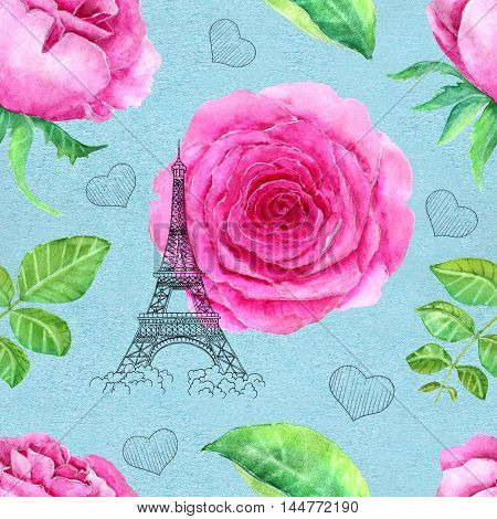 Seamless hand drawn vintage pattern with pink rose, leaves, graphic hearts and the Eiffel Tower on texture background. Watercolor repeated illustration