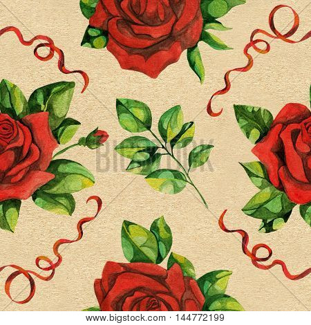 Seamless hand drawn vintage pattern with red roses, lace and leaves on texture background. Watercolor repeated illustration
