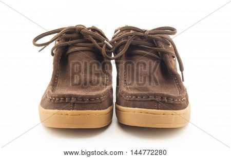 brown men boots isolated on a white background